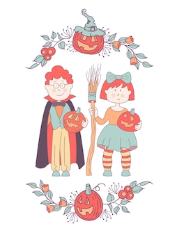 Children in costumes at the halloween party