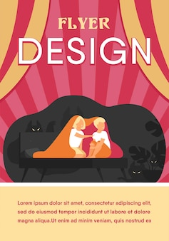 Children covering with blanket on bed isolated flat flyer template