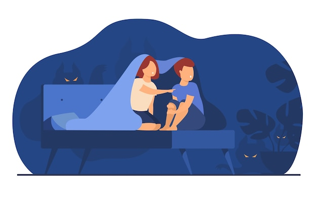 Children covering with blanket on bed isolated flat vector illustration. cartoon afraid girl and boy watching ghosts and monsters in night room.