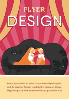 침대에 담요로 덮고 어린이 격리 된 평면 전단지 템플릿
