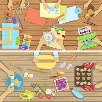 Детский урок рисования и кулинарии: две иллюстрации, видны только руки сверху над таблицей