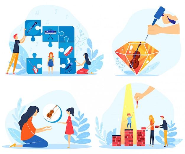 Children creative achievements vector illustration.