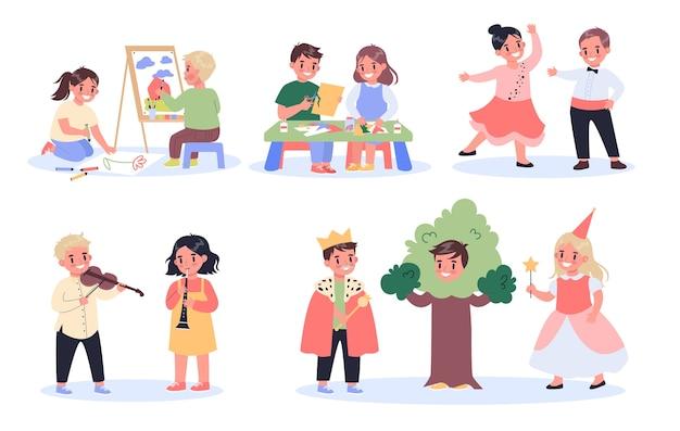 子供の創造的な趣味のセット。楽器を描いたり、作ったり、踊ったり、演技したり、演奏したりする子供たち。創造的でアクティブな学校の子供たち。