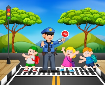 Children cross the road while the police stop the transportation