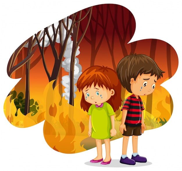 Children crying at forest wildfire disaster