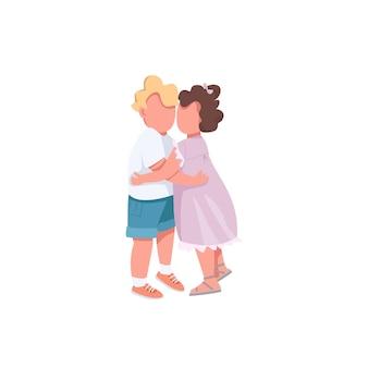 평면 색상의 얼굴없는 문자를 껴안고있는 아이들. 형제 사랑 자매. 포옹하는 귀여운 아이. 사랑스러운 우정. 웹 그래픽 디자인 및 애니메이션에 대한 행복한 가족 격리 된 만화 그림