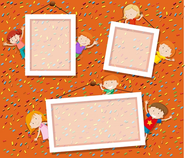 Children on cute photo frame