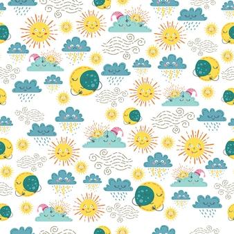Children cute weather seamless pattern