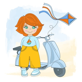 Children cycle cartoon vector illustration set
