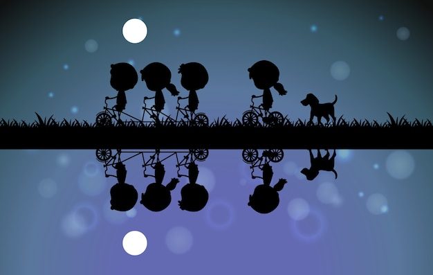 밤에 자전거를 타는 아이들