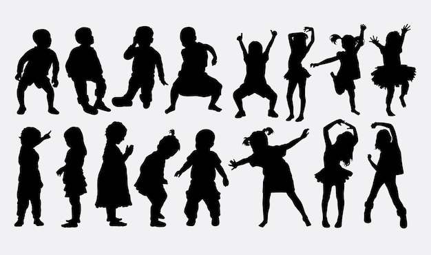 Children dancing silhouette