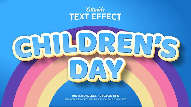 Children day 3d style editable text effects