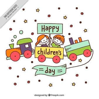 Children day background with train