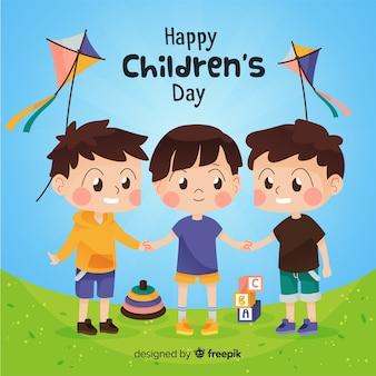 Children day concept in flat design