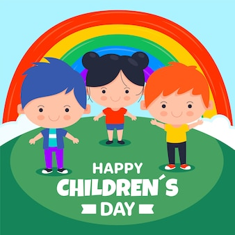 Children day concept in flat design