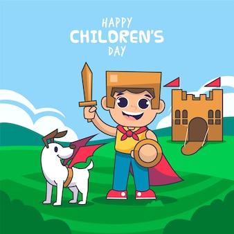 Children day concept in hand drawn
