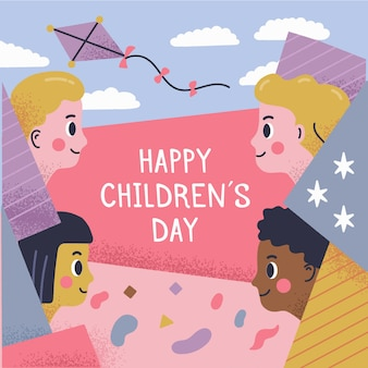 Children day concept in hand drawn