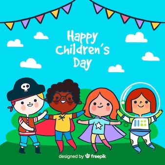 Детский день концепция в рисованной