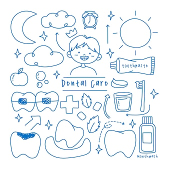 Children dental care doodle element collection