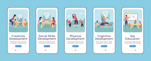 Плоский шаблон экрана мобильного приложения для развития детей. прохождение сайта 5 шагов с персонажами. творческий детский сад ux, пользовательский интерфейс, графический интерфейс смартфона, мультяшный интерфейс, набор распечаток на футлярах