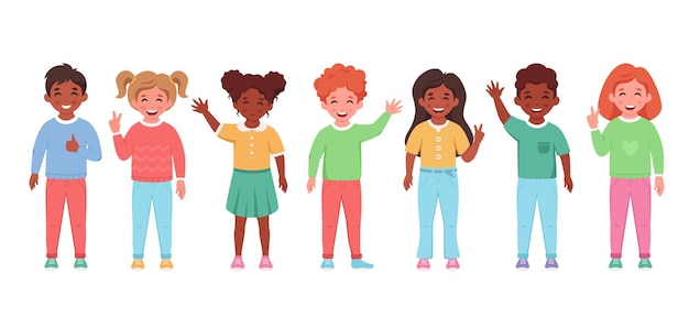 Children of different nationalities smiling and waving hands