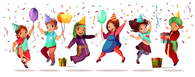 Children of different nationality celebrating birthday or holiday with color balloons