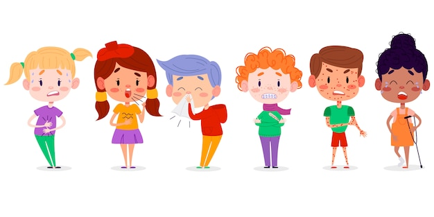 Children disease symptoms  illustration. kids flat character illustration. children have stomachache, fever, chickenpox, broken leg, sneeze and cough