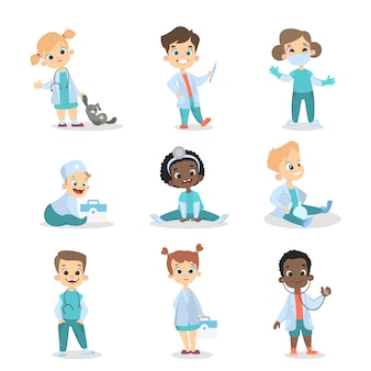 子供の医師を設定します。女の子と男の子のおもちゃ。