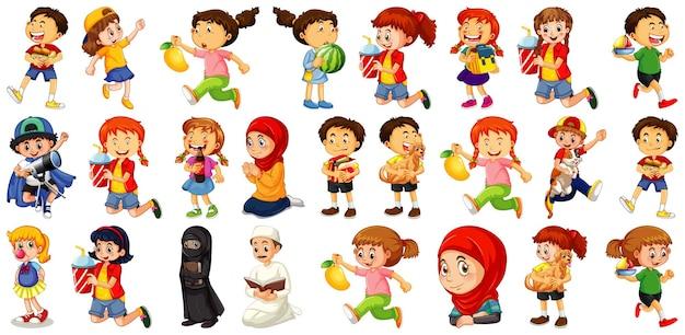 さまざまな活動をしている子供たちが白い背景に設定されている