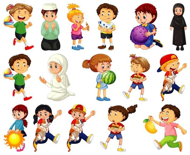 Дети делают различные виды деятельности мультипликационный персонаж на белом фоне