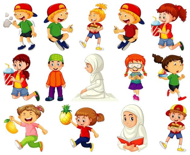 さまざまな活動をしている子供たちが白い背景に設定された漫画のキャラクター