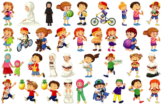 Дети делают различные виды деятельности мультипликационный персонаж на белом