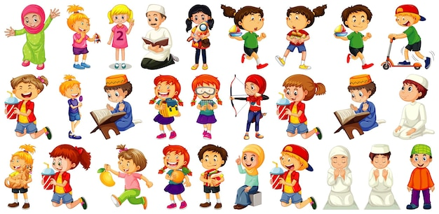 Children doing different activities cartoon character set on white background
