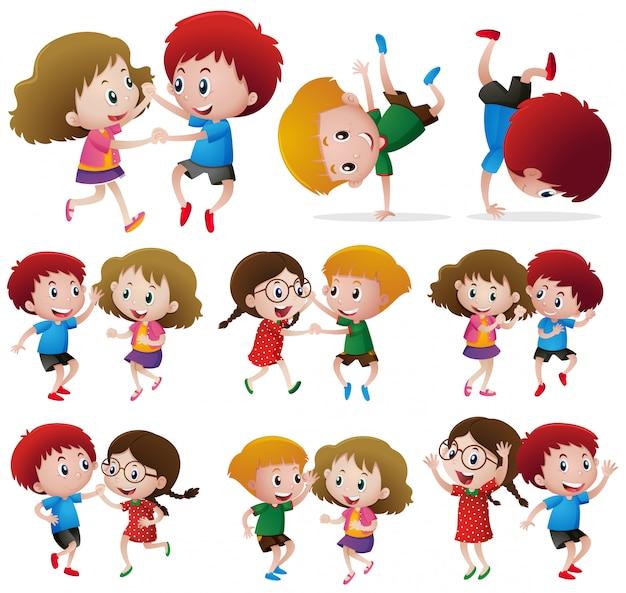 Children doing different dance posts