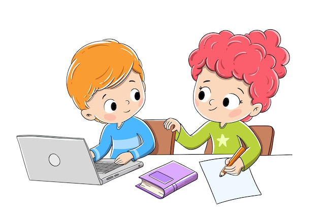 Children doing homework with a computer, a book and pencil