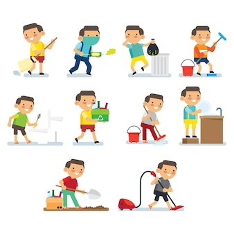 Children doing house work series. children doing healthy habit and hygiene activities in the house poster series.