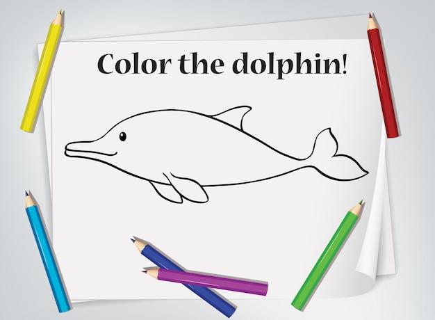 Foglio di lavoro da colorare per bambini delfini