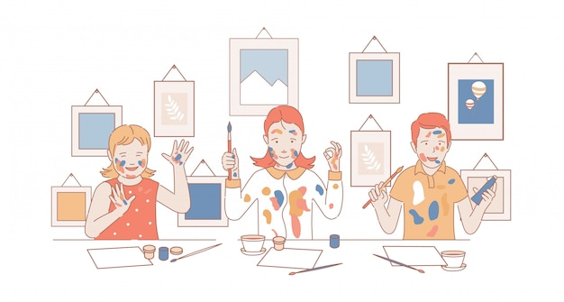 Children draw pictures on paper. boy and girls holding paintbrushes and paints cartoon outline illustration.