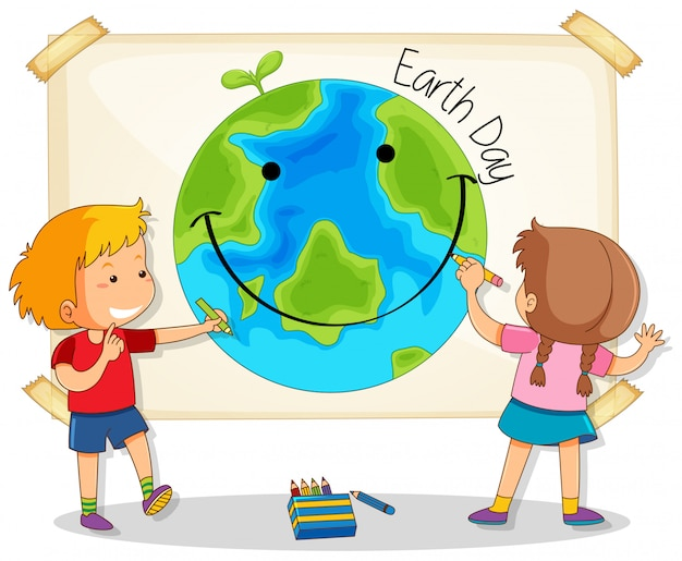 Children drawing earth day