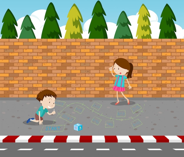 Children drawing game on footpath