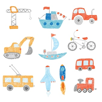 Children drawing. kids painting transport cars tractors ship plane toys doodle hand drawn collection. child doodle bus and automobile, colorful picture excavator illustration