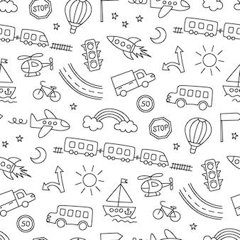 車、電車、飛行機、ヘリコプター、ロケットを描く子供たち。落書き輸送。キッズスタイルのシームレスパターン。白い背景の上の手描きのベクトル図
