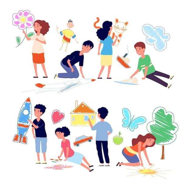 床に描く子供たち。漫画の女の子はクレヨンを描きます。ウォーキング中のアート幼稚園の子供たち。幸せな就学前の子供の絵