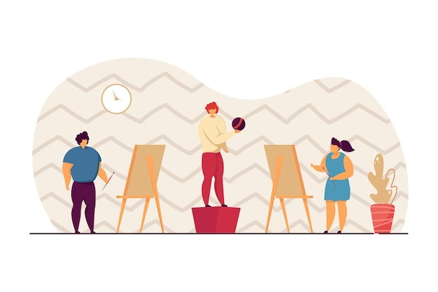 Children drawing person posing with ball in art class. boy and girl with brushes painting kid on canvas flat vector illustration. art, education concept for banner, website design or landing web page