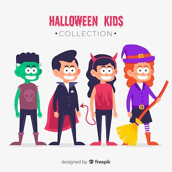 Children dressed as monsters for halloween flat design