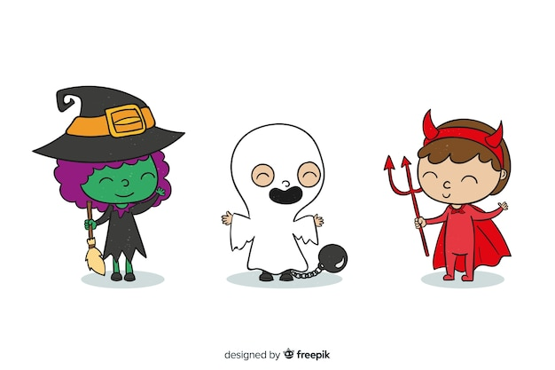 Bambini vestiti da mostri per halloween