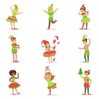 복장 휴일 카니발 당을위한 산타 클로스 크리스마스 요정으로 옷을 입은 아이들