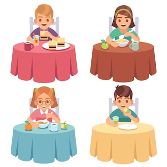Children eating. kids eat dinner table child breakfast lunch fast food dining girl boy cartoon characters set