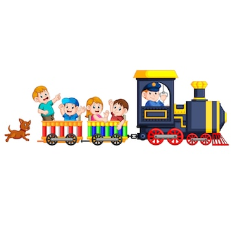 Children and engineer of locomotive  get into the train and the dog follow them