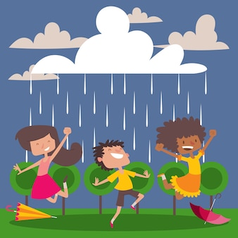 Children enjoy the rain cartoon characters happy kids dancing and jumping in the rain